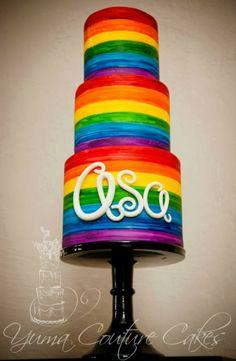 """""""Painted"""" Rainbow cake http://brilliantideasoldandnew.blogspot.com/"""
