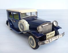 1929 Nash sedan touring car tin litho friction toy, Japan, navy blue and cream tinplate automobile, SSS International, S-1209, Old Timer on Etsy, $74.00
