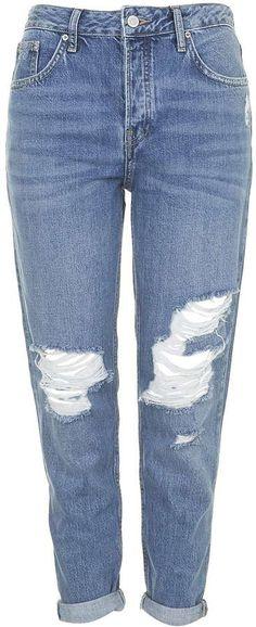 Moto blue ripped hayden jeans