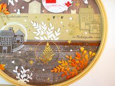 Herbstliches Layout im Stickrahmen | Kreativwerkstatt Project Life, Creative, Up, Layout, Wreaths, Home Decor, Paper, Creative Ideas, Invitations