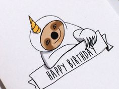 Unicorn Sloth Birthday Card, Doodle Card, made on recycled paper, comes with envelope and seal by ladybugonaleaf on Etsy