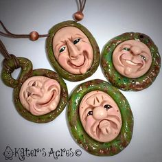 These aren't just any #faces. I'll be teaching YOU how to make #fantasy faces just like these in an upcoming #workshop in Columbiana, Ohio with @bsueboutiques in May! It's going to be fun. #pendant #polymer #polyclay #polymerclay #pendant #fauxjade #schrume #theschrumes #katersacres #polymerclaydaily #handsculpted #jewelry