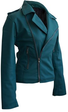 Leather Skin Sea Green Women Ladies Brando Style Synthetic Leather Jacket - All About Designer Leather Jackets, Green Leather Jackets, Leather Jacket Outfits, Teal Outfits, Pretty Outfits, Pretty Clothes, Blazers, Boots And Leggings, Blue Fashion
