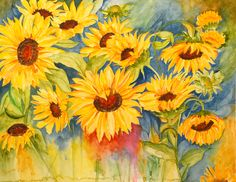 Sunshine in my eyes They follow the sun and try to match the glory, color and warmth. Both the transparency and vibrance is beautifully captured in watercolor painting of these sunflowers