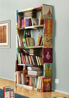 Bookshelf made of books. If I made this, it would fall down quickly.