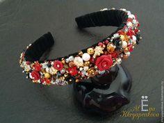Комплект в стиле БАРОККО - ярко-красный,обруч для волос,обруч с цветами