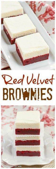 Red Velvet Brownies Denser than the classic cake , these decadent brownies are topped with white chocolate buttercream! Mini Desserts, Just Desserts, Delicious Desserts, Dessert Recipes, Yummy Food, Plated Desserts, Cupcake Recipes, Dessert Ideas, Low Carb Dessert