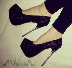Fashionable Black Glitter Platform Heels