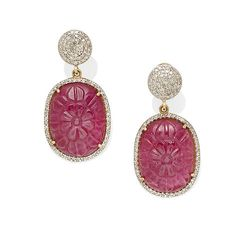 A pair of ruby and diamond ear pendants
