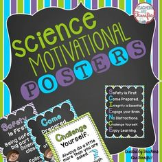 Science Motivational Posters in Purple, Lime, and Bright T