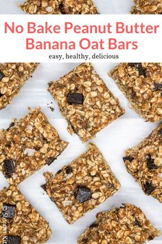 These delicious oatmeal bars with peanut butter bananas and chocolate chips are no bake and couldn t be easier to make Great for kids and a healthy snack or breakfast option breakfast dessert snack freezerfriendly kidfriendly makeahead Muesli Bars, Oat Bars, Oatmeal Bars, Peanut Butter Banana Oats, Peanut Butter Roll, Breakfast Recipes, Snack Recipes, Breakfast Dessert, Oatmeal Dessert