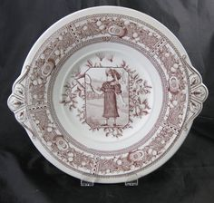 Aesthetic Transferware Serving Plate - Girl Playing Badminton 1880s