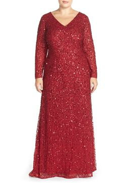 Adriana Papell Beaded Long Sleeve V-Neck Gown (Plus Size) available at #Nordstrom