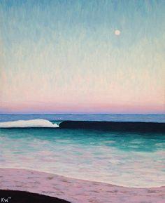 Large Moon Surf by Kurt Weismair Acrylic ~ x Surfing, Waves, Moon, Beach, Outdoor, Art, The Moon, Outdoors, Art Background