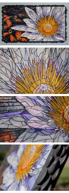 """Title: Water Lily   ---   Artist: Cherie Bosela   ---    Year: 2015   ---   Size: 21"""" x 35"""" x 2""""    ---   Medium: mosaic made from stained glass, murano millefiori, river rock and original photography under the glass"""