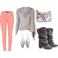 """Grey and Pink"" by paige-cary on Polyvore"
