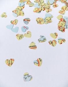 Table decoration - map heart confetti upcycled by peonyandthistle
