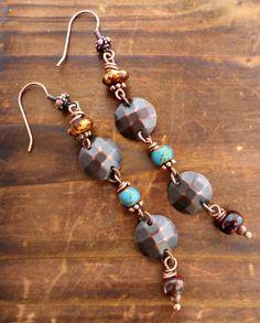 Copper, Czech glass long simple lightweight earrings.