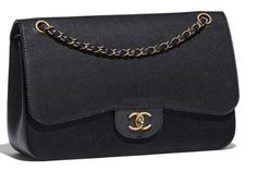 CHANEL Large Classic Flap Bag: Grained Calfskin + Gold-Tone Metal: Black