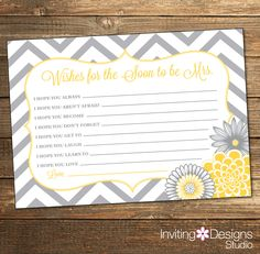 Chevron Bridal Shower Wishes Card / Wedding Shower / Yellow and Gray Flowers / PRINTABLE FILE by InvitingDesignStudio on Etsy