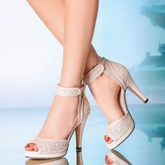 Womens ankle strap lace heels Bridal  open toe boots 10cm heel Wedding shoes