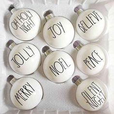 Rae Dunn inspired Christmas ornaments - Happy Christmas - Noel 2020 ideas-Happy New Year-Christmas Noel Christmas, Christmas Signs, Diy Christmas Ornaments, Country Christmas, Christmas Projects, Winter Christmas, Holiday Crafts, Christmas Decorations, Ornaments Ideas