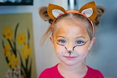 easy homemade fox costume and makeup for a little girl