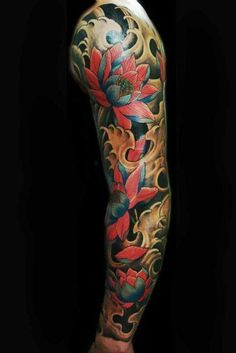 Red Lotus Flower Japanese tattoo sleeve