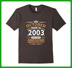 Mens Made in October, 2003 - 14th Birthday Gift T-shirt 2XL Asphalt - Birthday shirts (*Amazon Partner-Link)