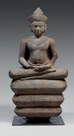 Stone Buddha Statue, Buddha Statues, Art Thai, Ancient Scripts, Gautama Buddha, Buddha Head, Stone Sculpture, Buddhist Art, Angkor
