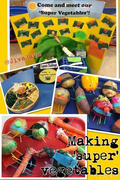 Creating a superhero vegetable after reading 'Supertato'. Eyfs Classroom, Superhero Classroom, Superhero School, Superhero Ideas, Eyfs Activities, Activities For Kids, Educational Activities, Olivers Vegetables, Handas Surprise