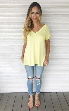Wyatt-Lemon. Basic yellow tee. V-neck tee. Split side tee. Criss-cross back detail. Plain tee with jeans and sandals.