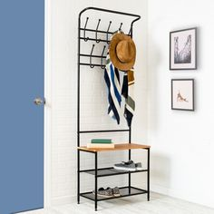 Entryway storage hall tree- - small apartment decorating ideas on a budget - very small Wood Storage, Furniture, Shoe Rack With Shelf, Entryway Bench Storage, Furniture For Small Spaces, Entryway Coat Rack, Coat And Shoe Rack, Wood Storage Bench, Storage Hall