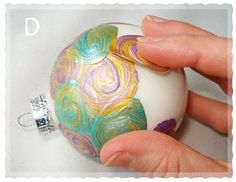 "really different way to ""paint"" ornaments! These are super easy and would make a great kids craft also."