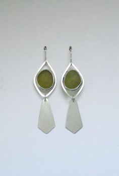 Sea Glass Jewelry - Sterling Olive Green Sea Glass Earrings by SignetureLine on Etsy