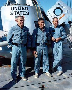 NASA Apollo 8 Crew Recovery Training, 1968 (l-to-r: Frank Borman, Bill Anders, Jim Lovell)