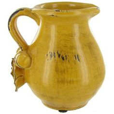 Yellow Ceramic Pitcher with Flower on Handle | Shop Hobby Lobby