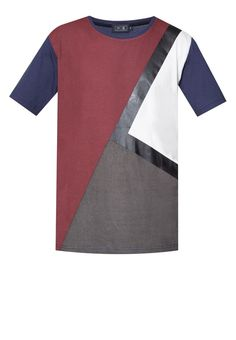 Coated Print Color Blocking Tee from 24:01 in multi_6