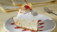 Creamy Pina Colada Pie - Philadelphia Cream Cheese | http://food-management.com/bakery-desserts/creamy-pina-colada-pie