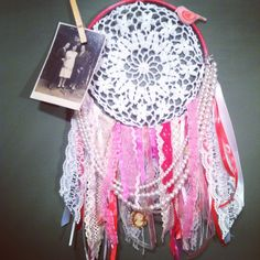 I raided Grandma's jewelry box for this dream catcher using pearls, a cameo, vintage lace, beautiful ribbons and unicorn links from a bracelet. Lace Dream Catchers, Hippie Life, Dreamcatchers, Drawing, Vintage Lace, Fun Ideas, Ribbons, Feathers, Jewelry Box