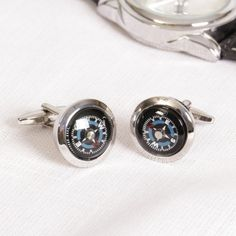 A brilliant gift idea for a special man in your life, these compass cufflinks are a fabulous way to finish off a suit ot smart outfit. Complete with bubble glass, the cufflinks have a small amount of fluid behind the glass enabling the faces to move with body movement. A great gift idea for a keen traveller and explorer