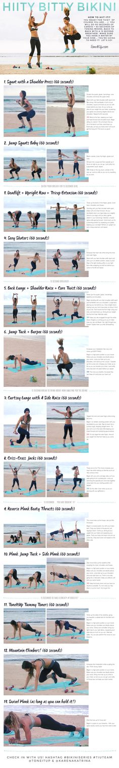 LOVED THIS WORKOUT! Fast but effective.  Brace yourself for a heart pumping, metabolism loving, sweat drenching, high intensity,workout! This is your NEW HIITy BITTY BIKINI routine!!
