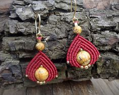 macrame earrings, 925 sterling silver 24K gold plated beads, 24K gold plated wire, picture jasper beads