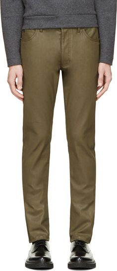 Calvin Klein Collection - Green Coated Jeans