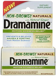 Dramamine Non-Drowsy Naturals with Natural Ginger, 18 Cou...