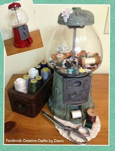 Vintage bubble gum machine, upcycled. Painted and now holds buttons in my sewing room. I also have several sewing machine drawers from old cabinets that hold my spools of thread.