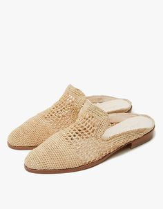 From Robert Clergerie, a woven mule in Natural. Slip-on design. Almond toe. Padded footbed. Stacked heel with rubber cap. • Textile upper • Leather sole • Made in Morocco • Women's sizes listed