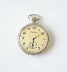 Vintage Pocket Watch MOLNIJA Ship  Working by GeorgiVintage, $45.00