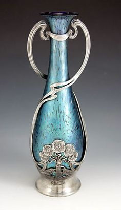 Loetz Art Nouveau Iridescent Glass Vase with Juventa Pewter Mount made by Juventa from Austria c.1905