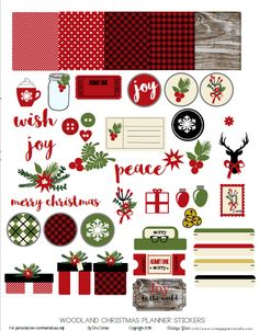 Free Printable Woodland Christmas Planner Stickers from Vintage Glam Studio